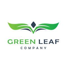 leaf logo design with letter v vector image