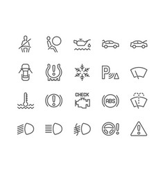 Line car dashboard icons vector