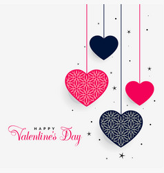 lovely hanging hearts of valentines day vector image