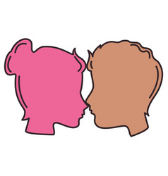 Lovers couple profile kissing vector