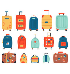 luggage bags vacation baggage plastic metal or vector image