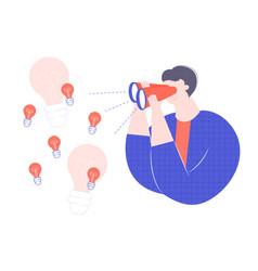 man character looks through binoculars vector image