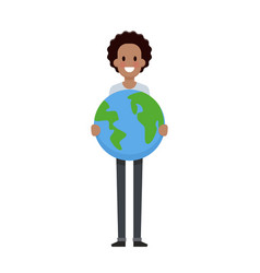 man hold the earth flat design save planet concept vector image