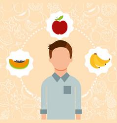 Man portrait with organic fresh fruits image vector