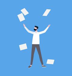 man throwing up documents success scheme vector image