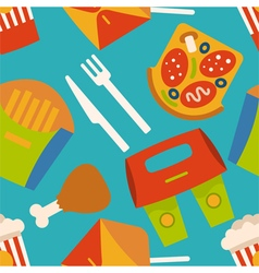 Menu pattern with fast food symbols vector