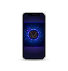 Mobile phone with lock screen and fingerprint vector