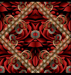 Modern paisley seamless pattern black red gold vector