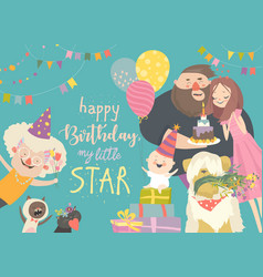 mom and dad celebrating their bafirst birthday vector image