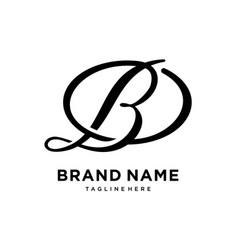 monogram initial b typography logo design vector image