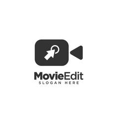 Movie editing logo design template vector