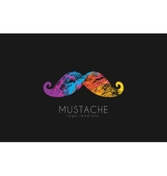 Mustache logo Color mustache Mustache in grunge vector image