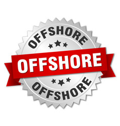 offshore round isolated silver badge vector image