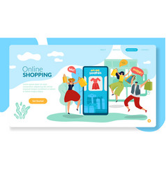 Online shopping page mobile shop with happy man vector