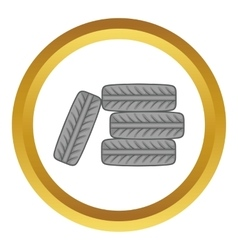 Pile of black tires icon vector image