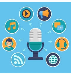 Podcast concept in flat style vector