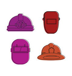 Protect helmet icon set color outline style vector
