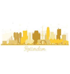 Rotterdam netherlands skyline golden silhouette vector