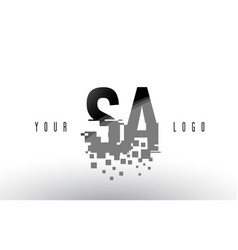 Sa s a pixel letter logo with digital shattered vector