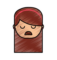 Sad and stressed woman vector