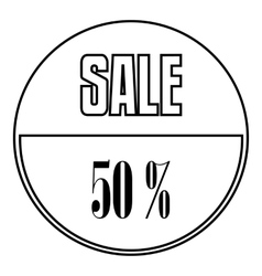 Sale sticker 50 percent off icon outline style vector