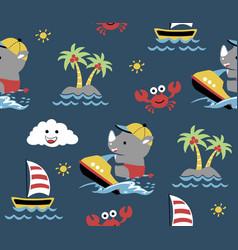 Seamless pattern rhino cartoon play speedboat vector