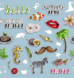Seamless pattern with stickers traveling concept vector