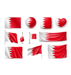 set bahrain flags banners banners symbols flat vector image