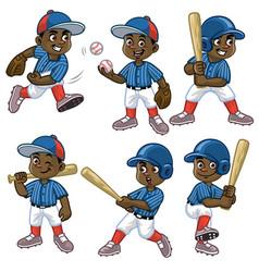 set cartoon black boy baseball player vector image