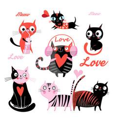 Set funny loving cats vector