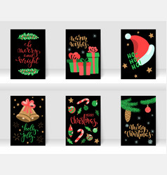 set of christmas and happy new year greeting cards vector image