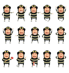 Set of flat firemen cartoon character icons vector
