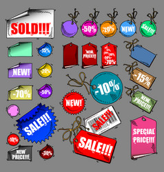 Set of tags sale vector