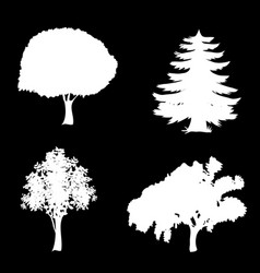 set of trees icons isolated on black background vector image