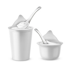 Set of white pots with yogurt or sour cream vector