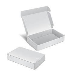 Set of white realistic cardboard box vector