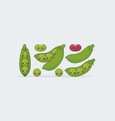 Set peas bean cute kawaii smiling food vector