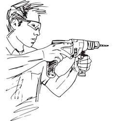 sketch of manual worker with electric drill vector image