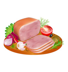 Slices ham with colorful peppers tomatoes vector