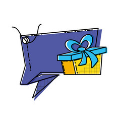 speech bubble with gift box vector image