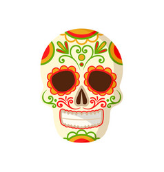 sugar skull with floral ornament symbol of mexico vector image