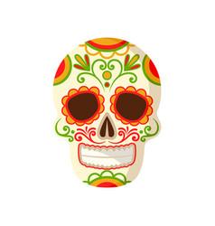Sugar skull with floral ornament symbol of mexico vector
