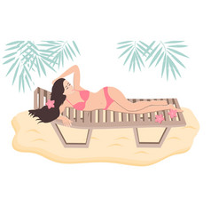 sunbathing w oman in a lounge chair dressed in vector image
