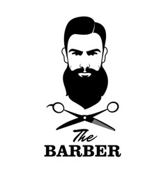The barber handsome man with beard and mustache vector
