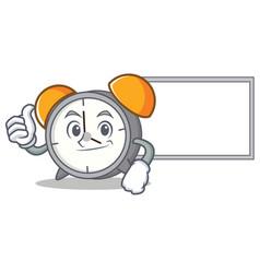 Thumbs up with board alarm clock character cartoon vector