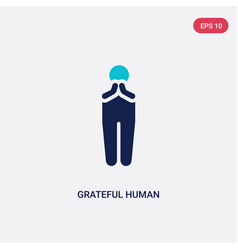 Two color grateful human icon from feelings vector