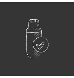 USB flash drive Drawn in chalk icon vector