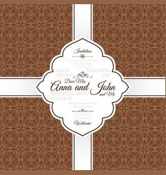 vintage brown swirl oriental pattern card vector image