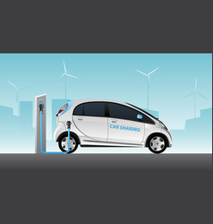 white carsharing electric car vector image