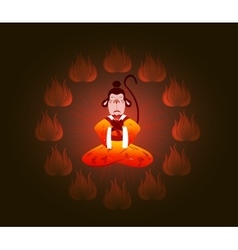Wise Chinese monkey in a circle of fire Symbol of vector
